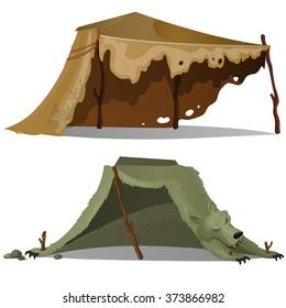 Tent of skins of wild animals. Vector.
