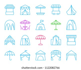 Tent thin line icons set. Outline sign kit of umbrella. Circus linear icon collection includes trade cart, fast food, sunshade. Simple tent color contour symbol isolated on white. Vector Illustration