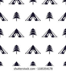Tent and tree seamless pattern. Silhouette distressed style. Outdoor adventure equipment wallpaper background. Stock vector illustration isolated on white.