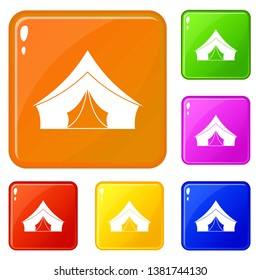 Tent with a triangular roof icons set collection vector 6 color isolated on white background