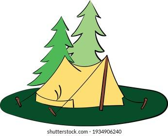 Tent Vector Illustration Tree Tourist Journey camping spot