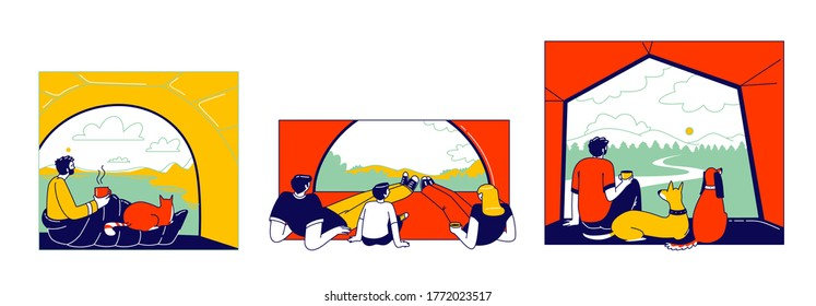 Tent View Concept. Tourists Characters Family with Child and Man with Pets Sitting inside of Camping Tent Looking Outside in Beautiful Picturesque Nature Landscape. Linear People Vector Illustration