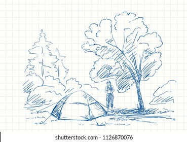 Tent and woman at campsite under big tree in forest, Blue pen sketch on square grid notebook page, Hand drawn vector illustration