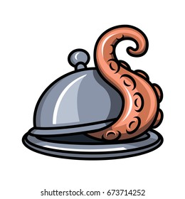 The tentacle crawls out from under the lid of a round dish for hot food