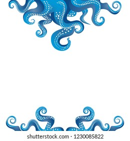 Tentacles of an octopus blue and white  frame, ocean motive flat cute cartoon illustration for web and print, cute decoration.