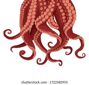 Tentacles octopus and cuttlefish. Purple tentacles kraken red suckers approach their prey deep vector underwater cartoon monster causing fear, inevitability.