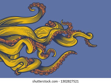 Tentacles of an octopus. Hand drawn vector illustration in engraving technique.