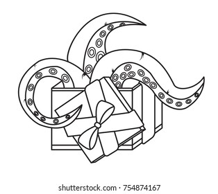 tentacles out of the box, birthday present, holiday packing,Christmas gift ,vector image, flat design,black and white picture