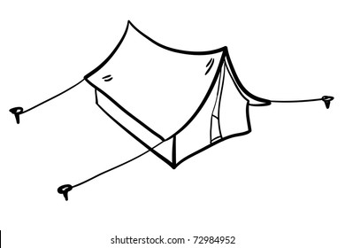Tent.cartoon. A children's sketch. On a camping