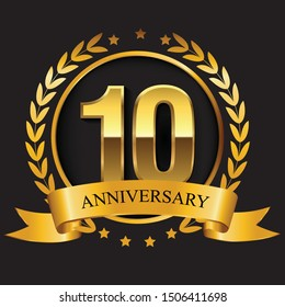 tenth anniversary golden logo emblem with ribbon and the number 10th vector graphic designing silhouette