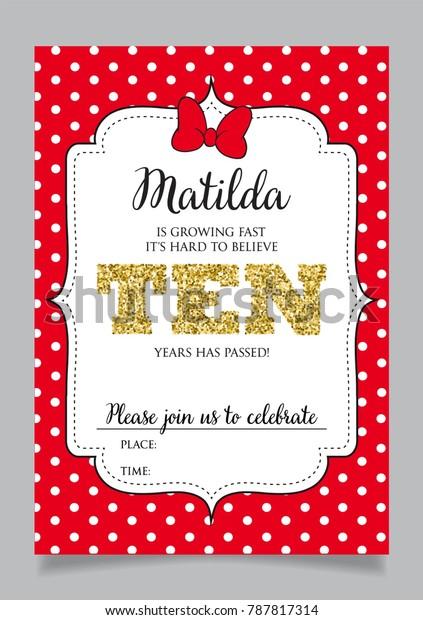 Tenth Birthday Invitation Girl Ten Years Stock Vector Royalty Free