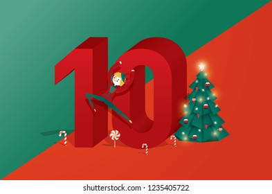 the tenth day of christmas of the twelve days of Christmas, advent calendar greetings template vector, illustration