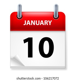 Tenth January in Calendar icon on white background