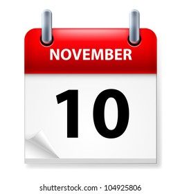 Tenth in November Calendar icon on white background