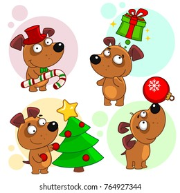 Tenth part of a collection of icons with dogs for design. A dog in a hat and candy, the dog thinks about the gift, the dog decorates the tree, the dog juggles with the New Year's toy.