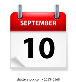 Tenth September in Calendar icon on white background