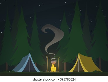 tents with bonfire on dark night forest background. beautiful concept camping with wild nature outdoors. summer travel. leisure, travel extreme.  night landscape, cartoon vector illustration. EPS10.