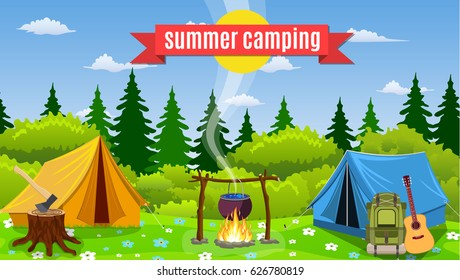 Tents with bonfire on forest background. Concept camping with wild nature outdoors. Summer travel.