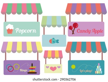 Tents Carnival Set Vector