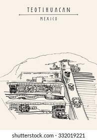 Teotihuacan, Mexico, Latin America. Temple of Quetzalcoatl. Pyramid reliefs. Hand drawn vintage postcard template. Vector illustration
