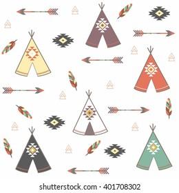 Tepee seamless pattern. Wigwam native american summer tent illustration in vector. Indian background. Tribal, aztec design. Modern handmade aztec wallpaper. vector illustration. tipi