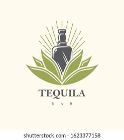 Tequila bar logo design with tequila bottle growing from agave plant. Creative vintage symbol for alcoholic beverage. Vector icon illustration for Mexican drink.