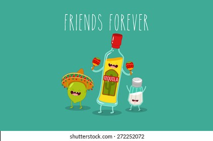 Tequila bottle, lime and salt shaker. Vector cartoon. Friends forever. Comic characters. You can use in the menu, in the shop, in the bar, the card or stickers.