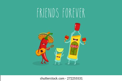 Tequila bottle, tequila shot and chili pepper. Vector cartoon. Friends forever. Comic characters. Use for card, poster, banner, web design and print on t-shirt. Easy to edit. Vector illustration.