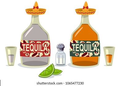 Tequila bottles and glasses with lime slices and salt. Vector cartoon flat icons of mexican alcoholic beverage.