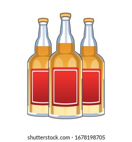 tequila bottles mexican drink isolated icon vector illustration design