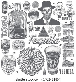 Tequila Crazy Bar Doodles, Typography And Design Elements Set. Vector Illustration