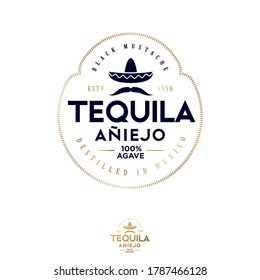 Tequila emblem. Big black mustache and authentic Mexican hat sombrero. Blue Agave Tequila logo.