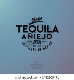 Tequila emblem. Blue Agave Tequila logo. Vintage letters and agave plants on blue background.