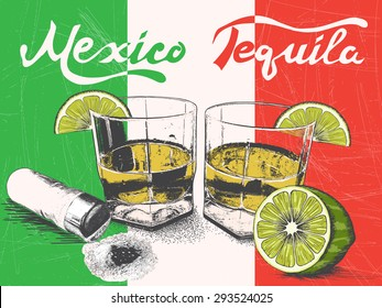 Tequila in glasses on Mexican flag background.Retro style.Vector illustration