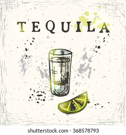 Tequila. Hand drawn vector illustration.