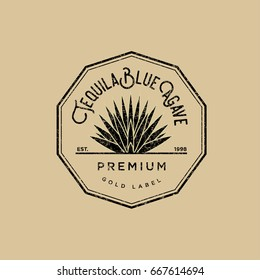 Tequila logo. Gold tequila label. Blue agave premium tequila.