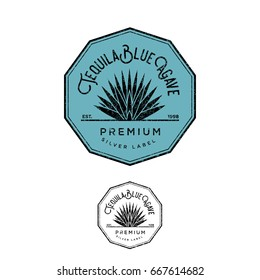 Tequila logo. Silver tequila label. Blue agave premium tequila.
