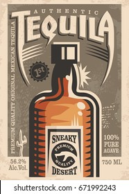 Tequila promotional retro poster design. Vintage illustration with tequila bottle and unique typography.