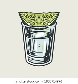 Tequila shot with lime and salt. Hand drawn illustration converted to vector isolated on white background