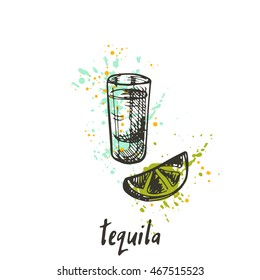 Tequila shot on the watercolor splash. Hand drawn vector illustration. Can be used for menu, cafe, restaurant or bar.