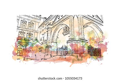 Terem Palace or Teremnoy Palace is a historical building in the Moscow Kremlin, Russia. Watercolor splash with hand drawn sketch illustration in vector.