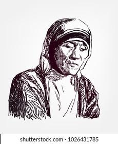 teresa mother vector illustration sketch