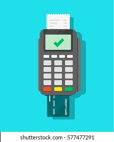 Terminal confirms the payment. Transaction approval process Inserted credit card, check. Point of sale purchase. NFC payments concept. Vector flat cartoon illustration for business, web design