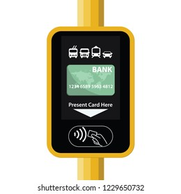 Terminal for passenger transport card. Airport, metro, bus, subway ticket terminal validator. Wireless, contactless or cashless payments, rfid nfc. illustration in flat style.