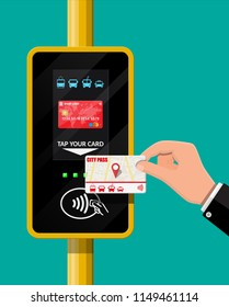 Terminal and passenger transport card in hand. Airport, metro, bus, subway ticket terminal validator. Wireless, contactless or cashless payments, rfid nfc. Vector illustration in flat style