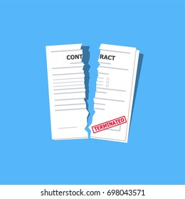 Terminated contract on the blue background with red stamp. Cool flat design torn paper. Vector illustration.