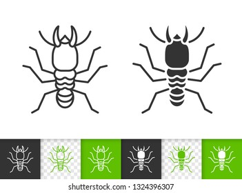 Termite black linear and silhouette icons. Thin line sign of insect. Wood pest outline pictogram isolated on white, color, transparent background. Vector Icon shape. Bug simple symbol closeup