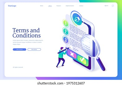 Terms and conditions banner. Business documents for law compliance, agreements and contracts. Vector landing page of rules and terms of service with isometric man and online document