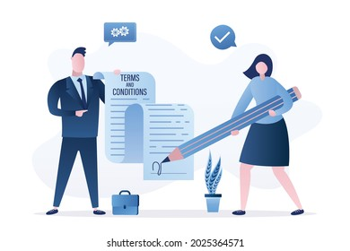 Terms and conditions, concept banner. Businessman or lawyer holds long paper contract. Woman user signs an agreement. Partnership, corporate relations. Flat design. Vector illustration