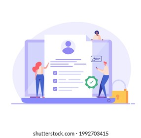 Terms and conditions concept. People signing document, protecting personal data, checking documents. Concept of account security, privacy policy, user agreement. Vector illustration in flat design